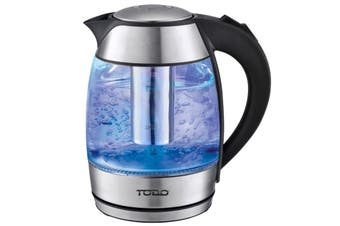 TODO 1.8L Glass Cordless Kettle 2200W Blue Led Light Kitchen Water Jug Black 360