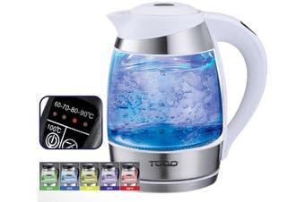 TODO 1.8L Glass Cordless Kettle Electric Blue Led Light Keep Warm 360 Jug White