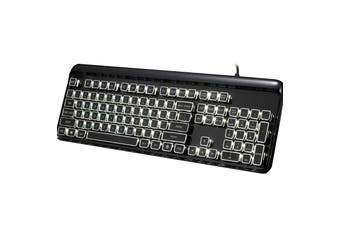 Mechanical Gaming Keyboard Linear Blue Switch Rgb Led 104 Key Windows - Black
