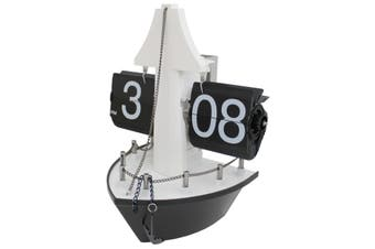 Nautical Moving Gear Desk Flip Clock Boat Analog Dial Battery Power