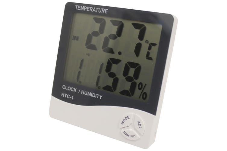 Digital Thermometer Hygrometer + Alarm Clock Large Lcd Display °/°F %Rh It-301