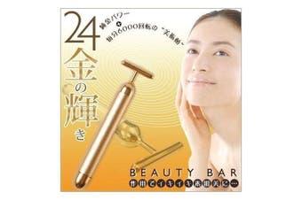 24K Golden Pulse Beauty Bar Firming Massager Gold Face Roller Japan Designed