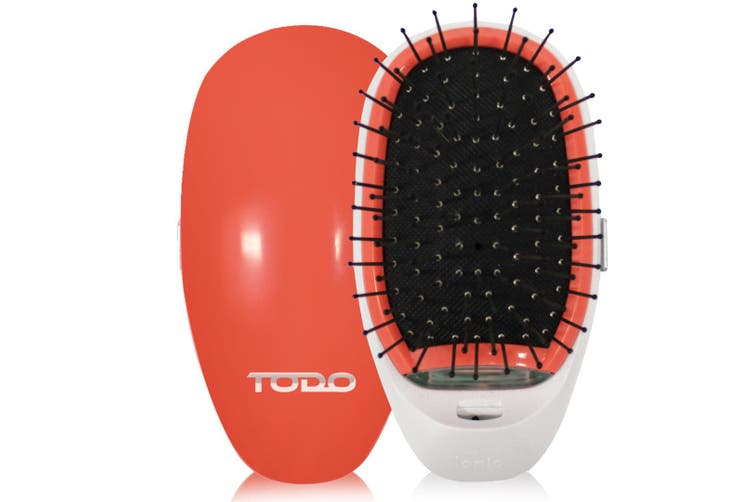 Ionic Straightening Styling Hair Brush Smooth Silky Hair Stainless Steel Peach