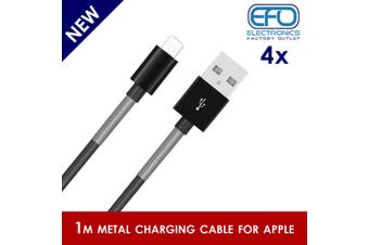 4Pc 1M Usb Data Charge Cable Lightning Pin Connector For Apple Iphone Ipad Metal Protected 4X