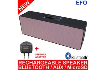 Bluetooth V3.0 Handsfree Rechargeable Speaker Microsd Aux Pink + Usb Adaptor