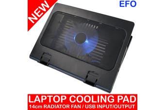 Laptop Radiator Fan Cooling Pad 14Cm Super Silent Fan W/ Blue Led Usb Powered