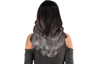 "Two Tone Ombre High Grade Silver Gray Curly Hair 7Piece 16Clips 22"" Hair Extension"