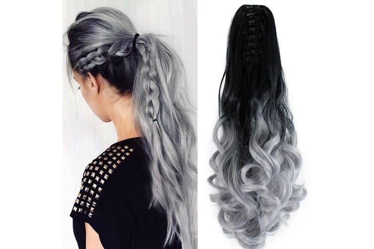 """Two Tone Ombre High Grade Silver Gray Curly Clip On Pony Tail 24"""" Hair Clamp 09"""
