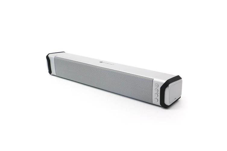 Bluetooth V2.1 Soundbar Wireless Stereo Speaker Rechargeable Led Usb Tf Silver