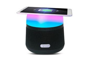 Bluetooth V4.2 Power Bank Speaker Wireless Charger Ambient Led Light - Black