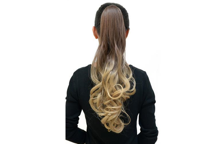"""Ombre Ponytail Ribbon Clamp  Wavy 50Cm 20"""" Hair Extension Claw04"""