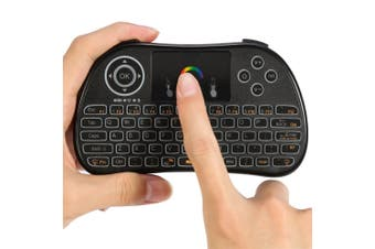 2.4Ghz Wireless Keyboard Touchpad Presenter Rechargeable 7 Led Mobile Pc - Black