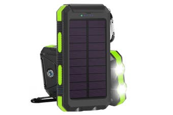 TODO 8000Mah Solar Power Bank Mobile Phone Usb Iphone Charger Led Torch - Black Green