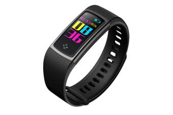 "Bluetooth V4.0 Fitness Watch Band Heart Rate Blood Pressure Ip67 0.96"" Oled - Black"