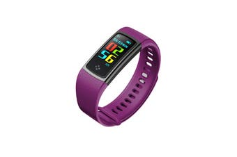 """Bluetooth V4.0 Fitness Watch Band Heart Rate Blood Pressure Ip67 0.96"""" Oled - Purple"""
