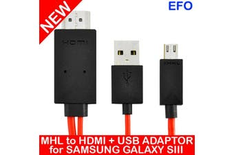 Samsung Galaxy Siii Mhl Micro Usb To Hdmi + Usb Power Hdtv Adaptor 2M 1080P S4