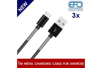 3Pc 1M Usb Data Charge Cable Micro Usb Connector For Samsung Htc Metal Protected 3X