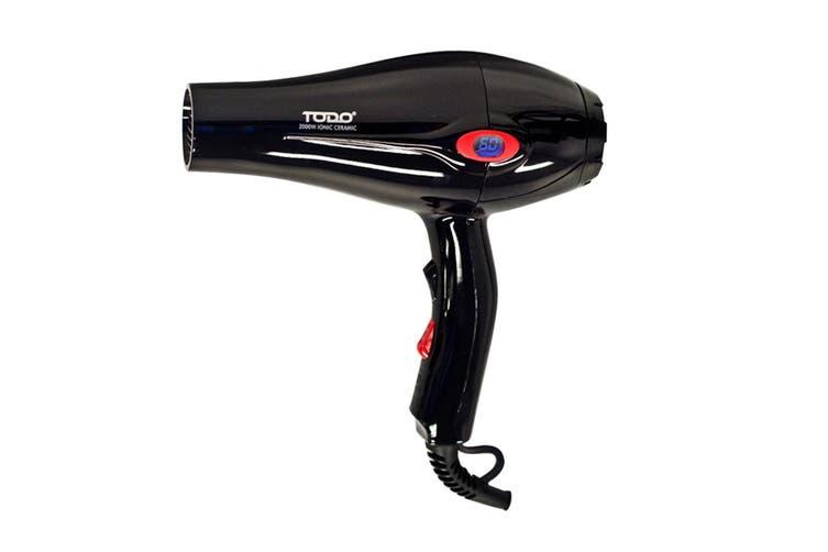 TODO 2000W Ionic Ceramic Anti Frizz Hair Dryer Digital Temperature Lcd Black
