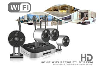 4Ch Nvr Wifi Security System Ip Camera 960P 1.3Mp Cctv Cam Wireless Ios Android