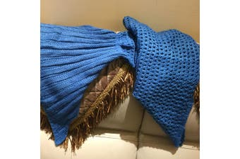 Knitted Mermaid Tail Blanket Crochet Leg Wrap Adult Ladies Blue 180X90Cm