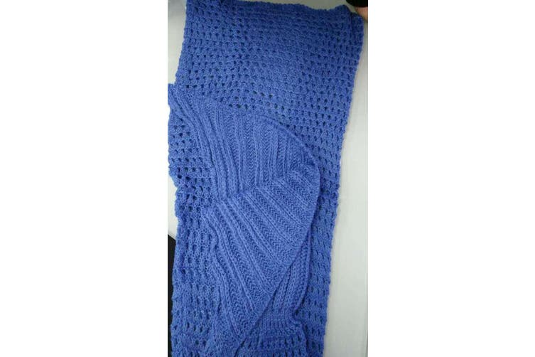 Knitted Mermaid Tail Blanket Crochet Leg Wrap Kids Child Blue 130X60Cm