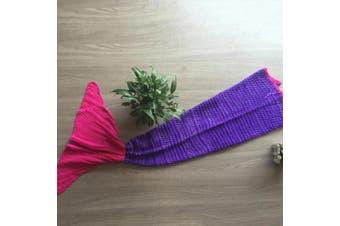Knitted Mermaid Tail Blanket Crochet Leg Wrap Kids Child Purple Pink 130X60Cm
