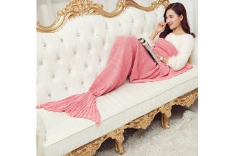 Knitted Mermaid Tail Blanket Crochet Leg Wrap Adult Ladies Red 180X90Cm