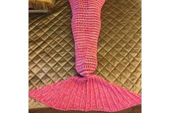 Knitted Mermaid Tail Blanket Crochet Leg Wrap Kids Child Red 130X60Cm
