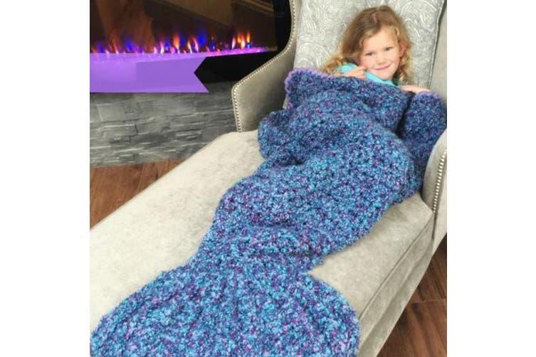 Knitted Mermaid Tail Blanket Crochet Leg Wrap Kids Child Dark Blue 130X60Cm