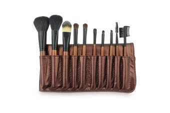 10 Piece Professional Makeup Brush Set Synthetic + Carry Case Coffee