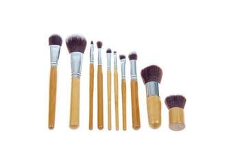 10 Piece Professional Makeup Brush Set Synthetic Fiber Bamboo Handle