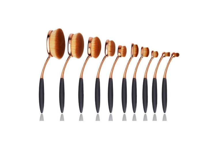 10 Piece Professional Oval Makeup Brush Set All In One Rose Gold