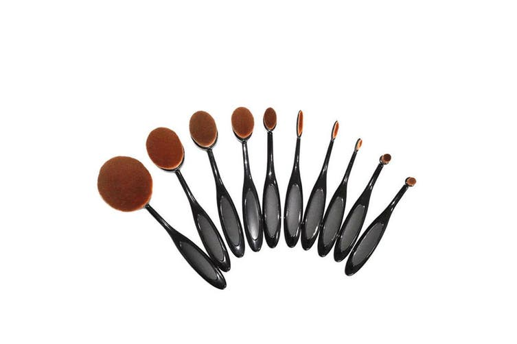 10 Piece Professional Oval Makeup Brush Set All In One Black