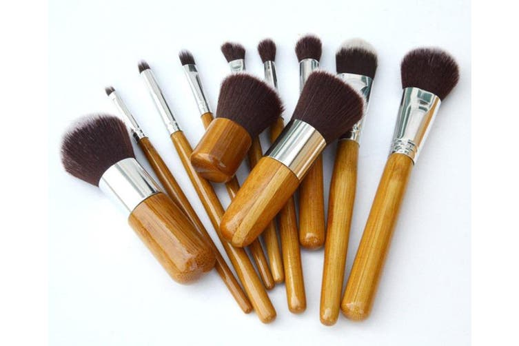 11 Piece Professional Makeup Brush Set Synthetic Fiber Bamboo Handle