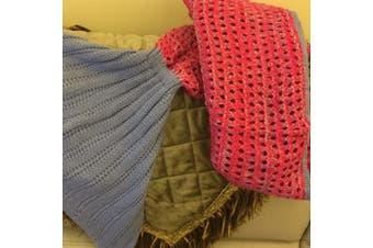 Knitted Mermaid Tail Blanket Crochet Leg Wrap Kids Child Pink Purple 130X60Cm