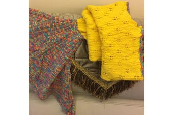 Knitted Mermaid Tail Blanket Crochet Leg Wrap Adult Ladies Yellow 180X90Cm