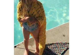 Knitted Mermaid Tail Blanket Crochet Leg Wrap Kids Child Yellow 130X60Cm