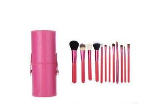 12 Piece Professional Makeup Brush Set Soft Bristle Carry Case Rose Pink