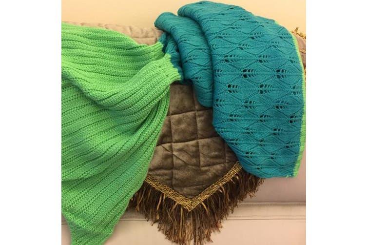 Knitted Mermaid Tail Blanket Crochet Leg Wrap Kids Child Emerald Pool 130X60Cm