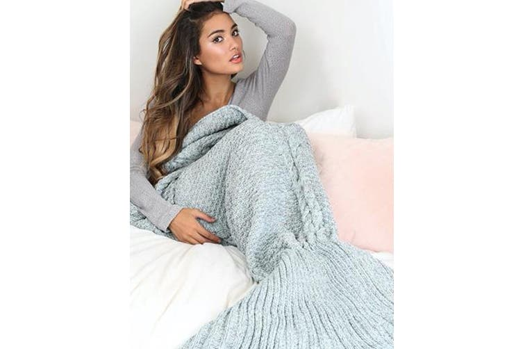Knitted Mermaid Tail Blanket Crochet Leg Wrap Adult Ladies Serenity 180X90Cm