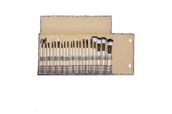 20 Piece High Quality Makeup Brush Set + Checkered Grid Carry Case