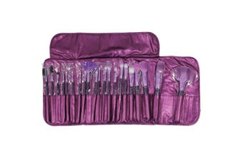 21 Piece Professional Facial Makeup Brushes + Carry Case Purple