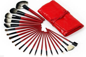 22 Piece Makeup Brush Set Soft Hair Brush Roll Up Carry Bag Red