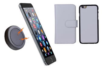 Magnetic Quick Snap Car Mount Leather Credit Card Case Holder Iphone 6+ Plus - White