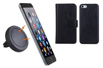 Magnetic Quick Snap Car Air Vent Mount Leather Card Case Iphone 6+ Plus - Black
