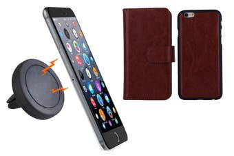 Magnetic Quick Snap Car Air Vent Mount Leather Card Case Iphone 6+ Plus - Brown