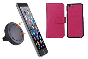 Magnetic Quick Snap Car Air Vent Mount Leather Card Case Iphone 6+ Plus - Pink
