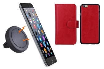 Magnetic Quick Snap Car Air Vent Mount Leather Card Case Iphone 6+ Plus - Red