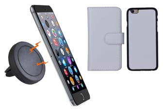 Magnetic Quick Snap Car Air Vent Mount Leather Card Case Iphone 6+ Plus - White