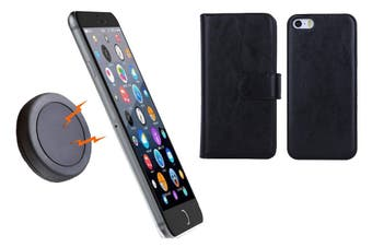 Magnetic Quick Snap Car Mount Leather Credit Card Case Holder Iphone 6+ Plus - Black